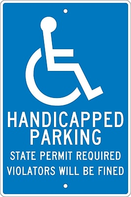 Handicapped Parking State Permit Required.., 18X12, .063 Aluminum