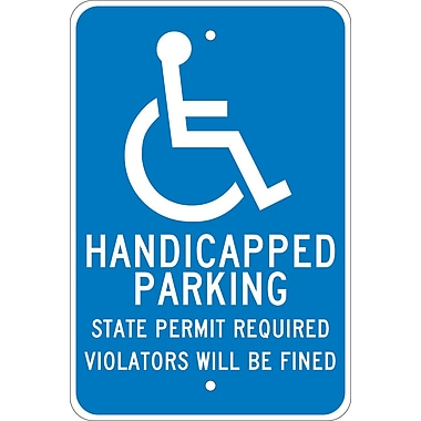 Handicapped Parkiing State Permit Required.., 18X12, .080 Egp Ref Aluminum