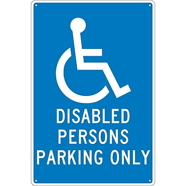 Disabled Persons Parking Only, 18X12, .040 Aluminum