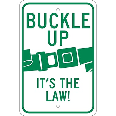 Buckle Up It'S The Law, 18X12, .080 Reflective Aluminum