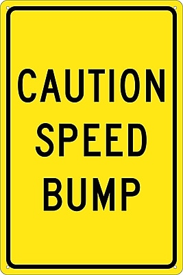 Caution Speed Bump, 18X12, .040 Aluminum