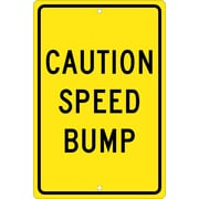 Caution Speed Bump, 18X12, .080 Hip Ref Aluminum