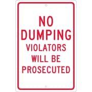 "No Dumping Violators Will Be Prosecuted, 18"" x 12"", .063 Aluminum"