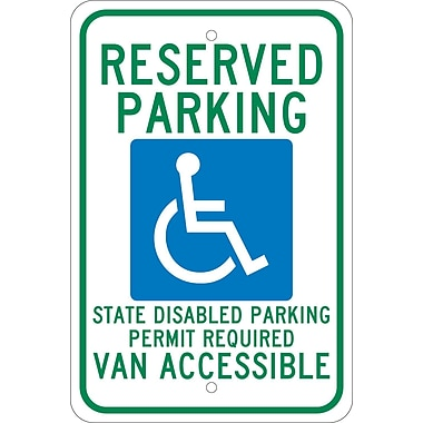 Reserved Parking Graphic State Disabled Parking Permit Required Van Accessible, 18
