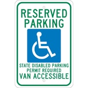 Reserved Parking (Graphic) State Disabled Parking Permit Required Van Accessible, 18X12, .080 Egp Ref Aluminum