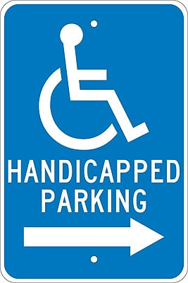 Graphic, Handicapped Parking (Right Arrow), 18X12, .080 Egp Ref Aluminum