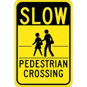 Slow (Graphic) Pedestrian Crossing 18X12, .080 Egp Ref Aluminum