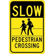 Slow (Graphic) Pedestrian Crossing 18X12, .080 Hip Ref Aluminum