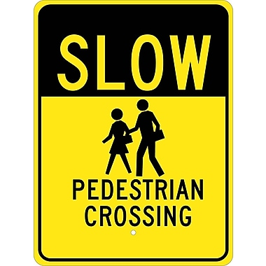 Slow Graphic Pedestrian Crossing 24X18, .080 Egp Ref Aluminum