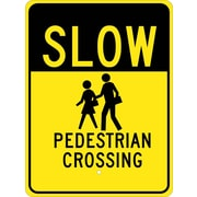 Slow (Graphic) Pedestrian Crossing 24X18, .080 Egp Ref Aluminum