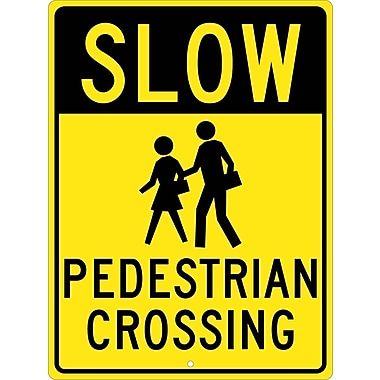 Slow Graphic Pedestrian Crossing 24X18, .080 Hip Ref Aluminum