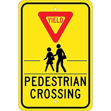 Yield (Graphic) Pedestrian Crosswalk, 18X12, .080 Egp Ref Aluminum