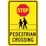 Stop (Graphic) Pedistrian Crossing, 18X12, .080 Hip Ref Aluminum