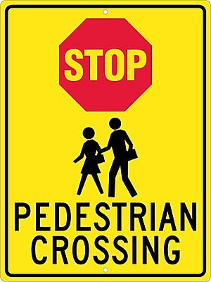 Stop (Graphic) Pedistrian Crossing, 24X18, .080 Hip Ref Aluminum
