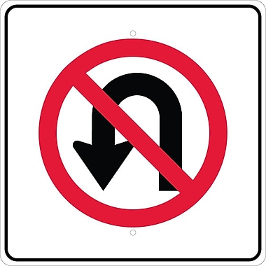 Graphic, No U Turn Left Arrow Symbol, 24X24, .080 Egp Ref Aluminum