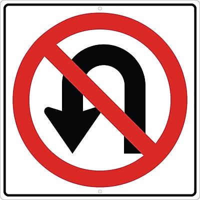 Graphic, No U Turn Left Arrow Symbol, 24X24, .080 Hip Ref Aluminum
