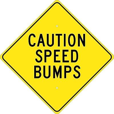 Caution Speed Bumps, 24X24, .080 Hip Ref Aluminum