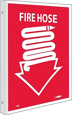 Notice Signs; Fire Hose, Flanged, 10X8, Rigid Plastic