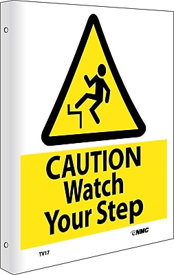 Caution Watch Your Step, Flanged, 10X8,Rigid Plastic