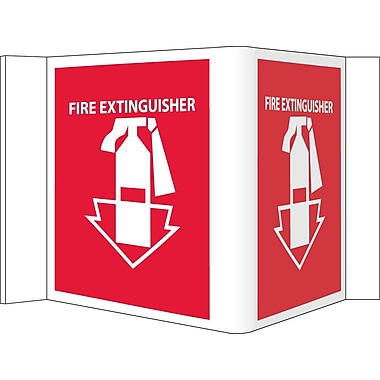Visi Sign, Fire Extinguisher, Red, 5 3/4X8 3/4, .125 PVC Plastic