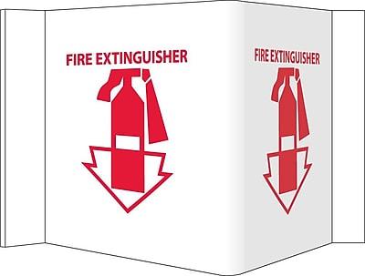Visi Sign, Fire Extinguisher, White, 5 3/4X8 3/4, .125 PVC Plastic