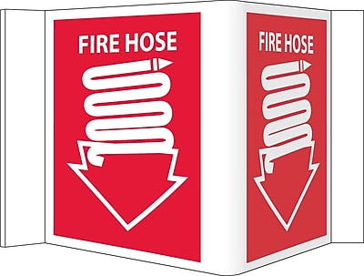 Visi Sign, Fire Hose, Red, 5 3/4X8 3/4, .125 PVC Plastic