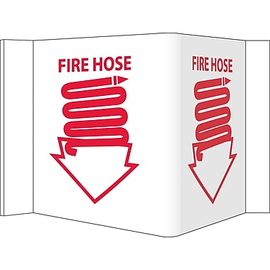 Visi Sign, Fire Hose, White, 5 3/4X8 3/4, .125 PVC Plastic
