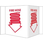 Visi Sign, Fire Hose, White, 5 3/4X8 3/4, .125 PVC Plastic