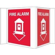 Visi Sign, Fire Alarm, Red, 5 3/4X8 3/4, .125 PVC Plastic