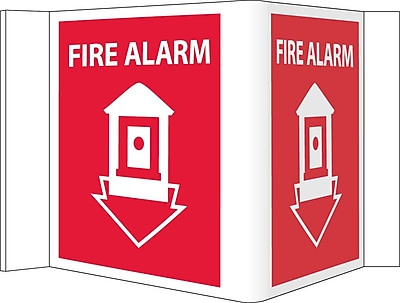 Visi Sign, Fire Alarm, Red, 5 3/4X8 3/4, .125 PVC Plastic