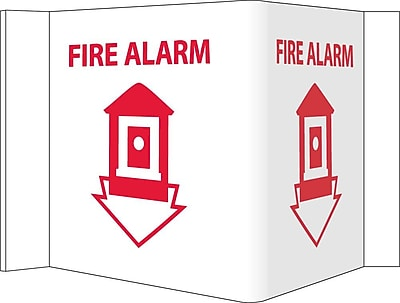 Visi Sign, Fire Alarm, White, 5 3/4X8 3/4, .125 PVC Plastic
