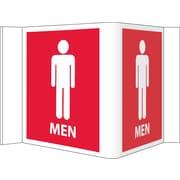 Visi Sign, Men, Red, 5 3/4X8 3/4, .125 PVC Plastic