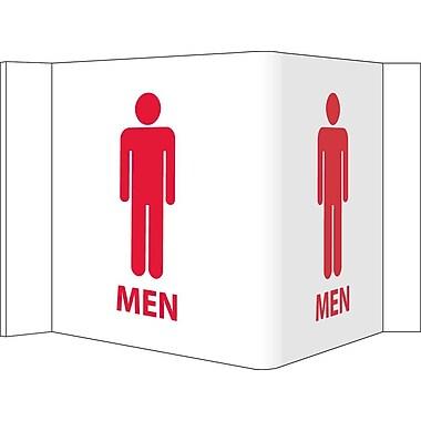 Visi Sign, Men, White, 5 3/4X8 3/4, .125 PVC Plastic