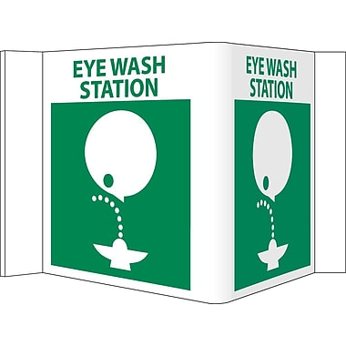 Visi Sign, Eye Wash Station, White, 5 3/4X8 3/4, .125 PVC Plastic