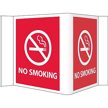 Visi Sign, No Smoking, Red, 5 3/4X8 3/4, .125 PVC Plastic