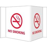 Visi Sign, No Smoking, White, 5 3/4X8 3/4, .125 PVC Plastic