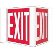 "Visi Sign, Exit, Red, 8"" x 14-1/2"", .125 PVC Plastic"