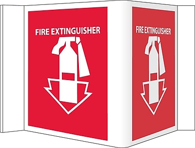 Visi Sign, Fire Extinguisher, Red, 8X14 1/2, .125 PVC Plastic