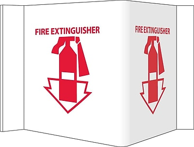 Visi Sign, Fire Extinguisher, White, 8X14 1/2, .125 PVC Plastic