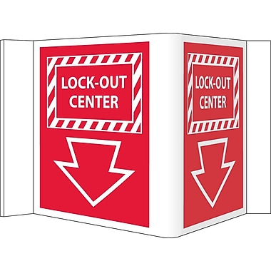 Visi Sign, Lockout Center, Red, 5 3/4X8 3/4, .125 PVC Plastic
