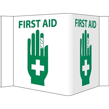 Visi Sign, First Aid, White, 5 3/4X8 3/4, .125 PVC Plastic