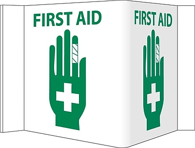 Visi Sign, First Aid, White, 5 3/4X8 3/4, .125 PVC Plastic