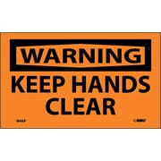 Warning, Keep Hands Clear, 3X5, Adhesive Vinyl, 5/Pk