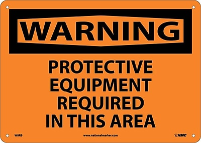 Warning, Protective Equipment Required In This Area, 10X14, Rigid Plastic