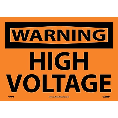 Warning, High Voltage, 10X14, Adhesive Vinyl