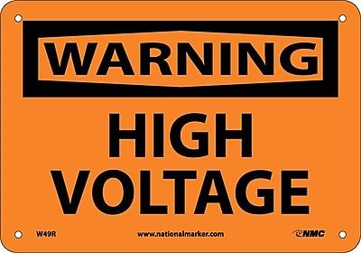 Warning, High Voltage, 7X10, Rigid Plastic