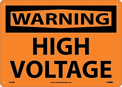Warning, High Voltage, 10X14, Rigid Plastic