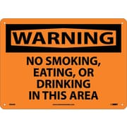 Warning, No Smoking Eating Or Drinking In This Area, 10X14, Rigid Plastic