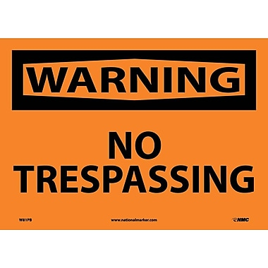 Warning, No Trespassing, 10X14, Adhesive Vinyl