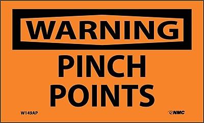 Warning, Pinch Points, 3X5, Adhesive Vinyl, 5Pk